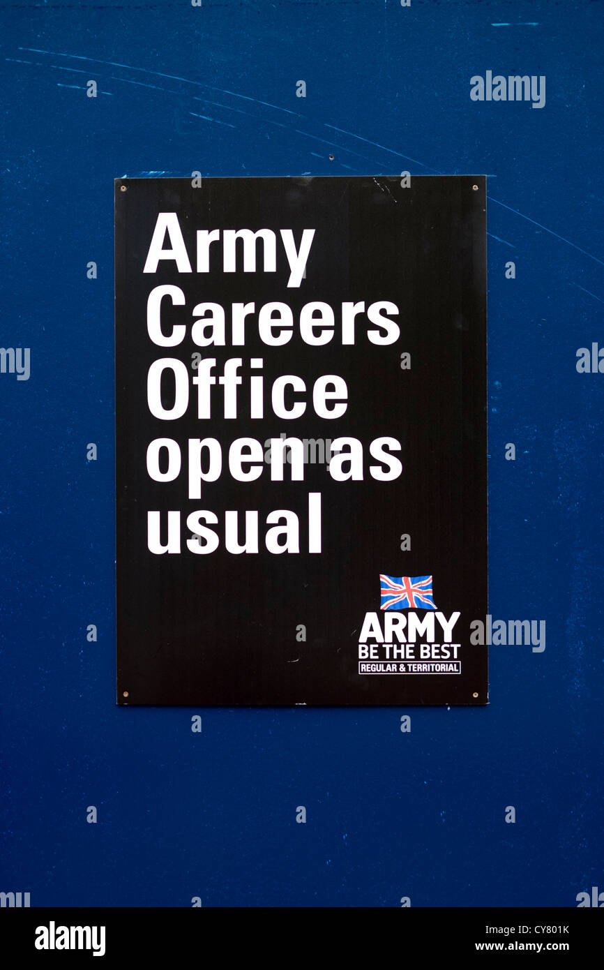 Army careers office sign open as usual with Union Jack flag and slogan Be The Best - Stock Image