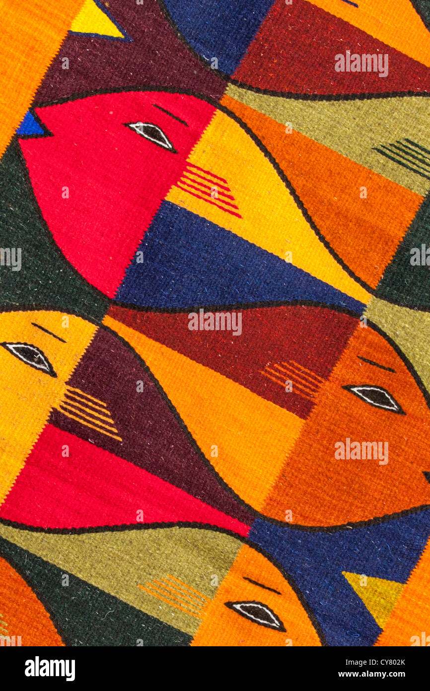 Detail of wool rug created on wooden looms in Teotitlan del Valle, Oaxaca, Mexico. - Stock Image