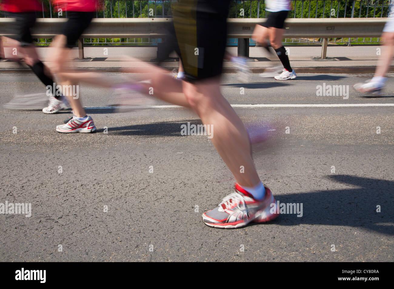 MARATHON RUNNERS, MARATHON IN STUTTGART, BADEN-WURTTEMBERG, GERMANY - Stock Image