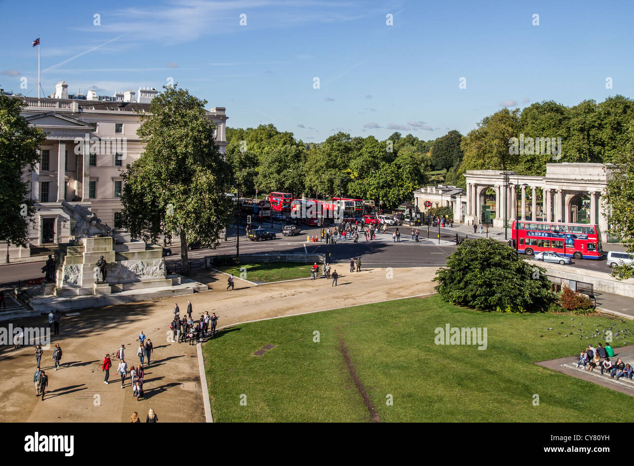 England London Hyde Park corner from Wellington Arch - Stock Image