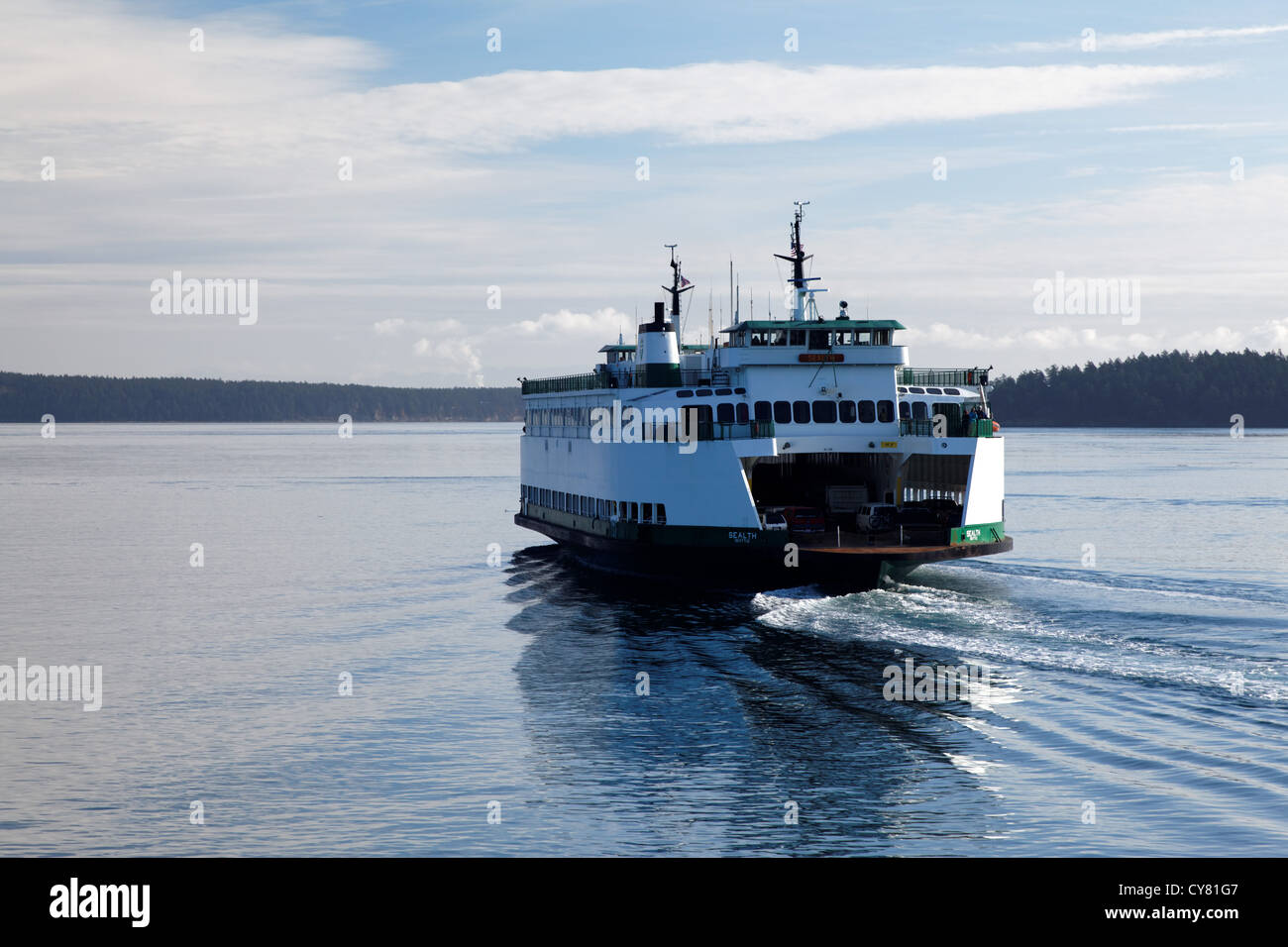 The Washington State Ferry, MV Sealth, cruising through the San Juan Islands, an Juan County, Washington State, - Stock Image