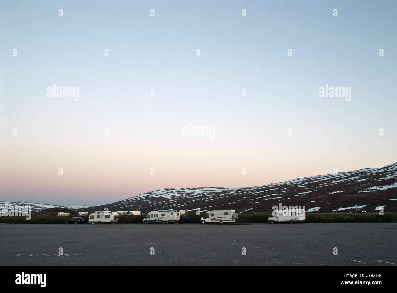 Camper cars on a car park on a Polar Circle in Norway. Stock Photo