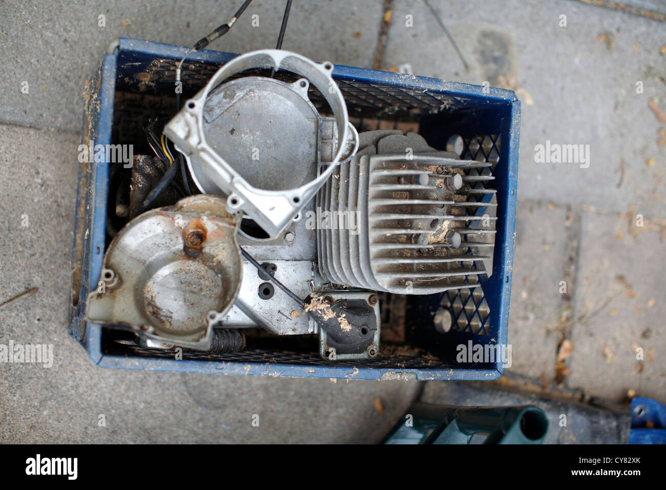 Engine in a crate. - Stock Image