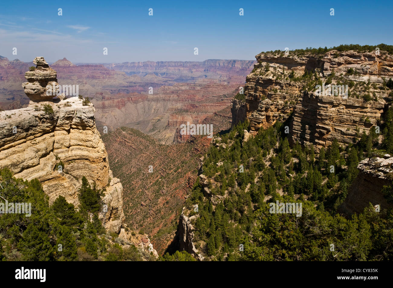Scenic view of layered rocks along the South Rim, Grand Canyon National Park, Arizona Stock Photo