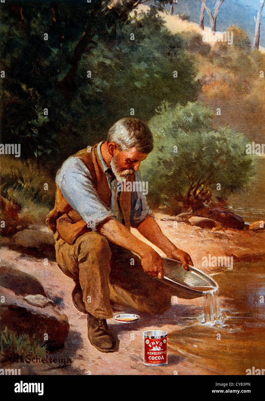 Gold Prospector, Painting by J.H. Scheltema, Circa 1909 - Stock Image
