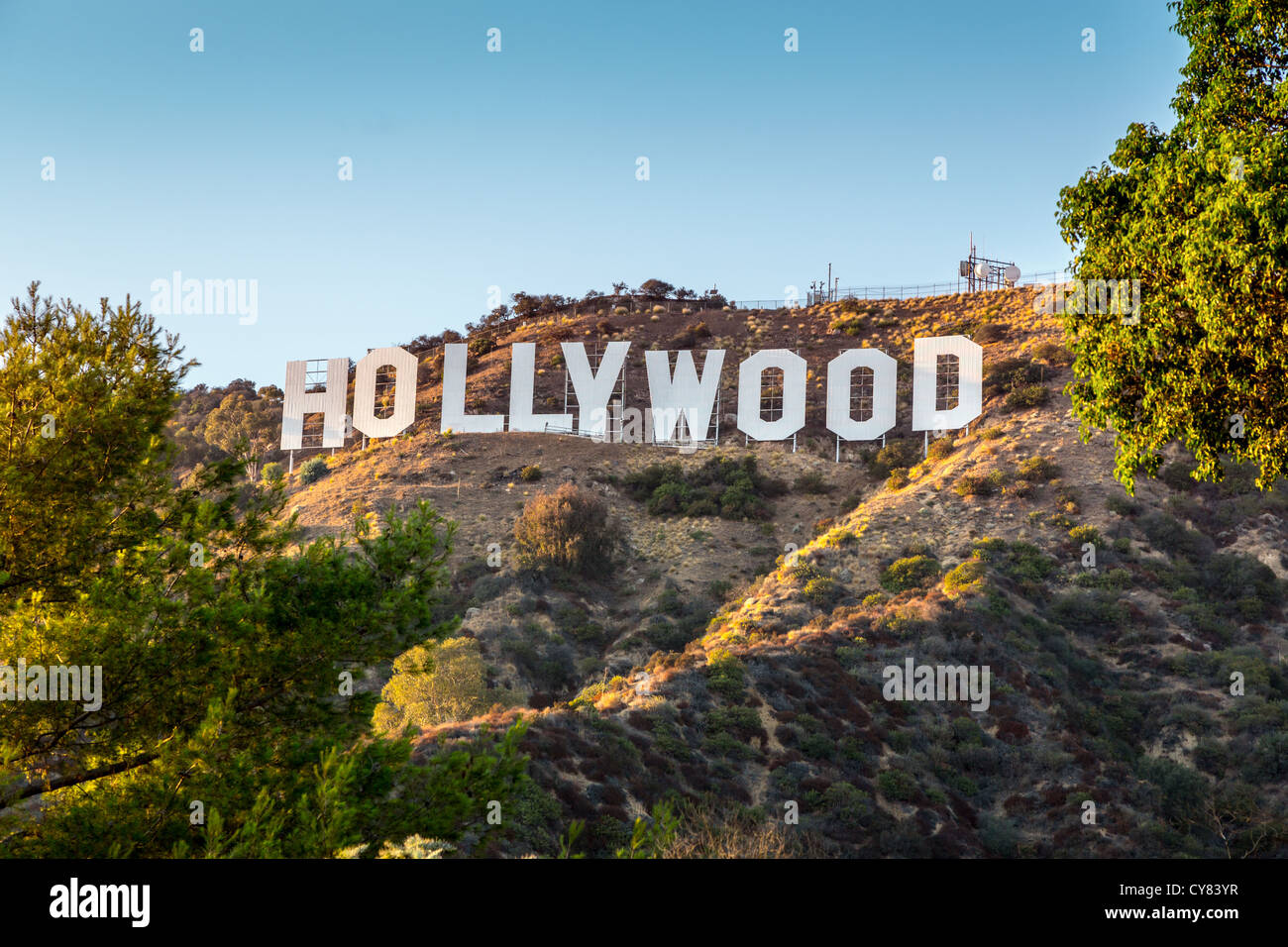 HOLLYWOOD CALIFORNIA - SEPTEMBER 24: The world famous landmark Hollywood Sign on September 24, 2012 in Los Angeles, - Stock Image
