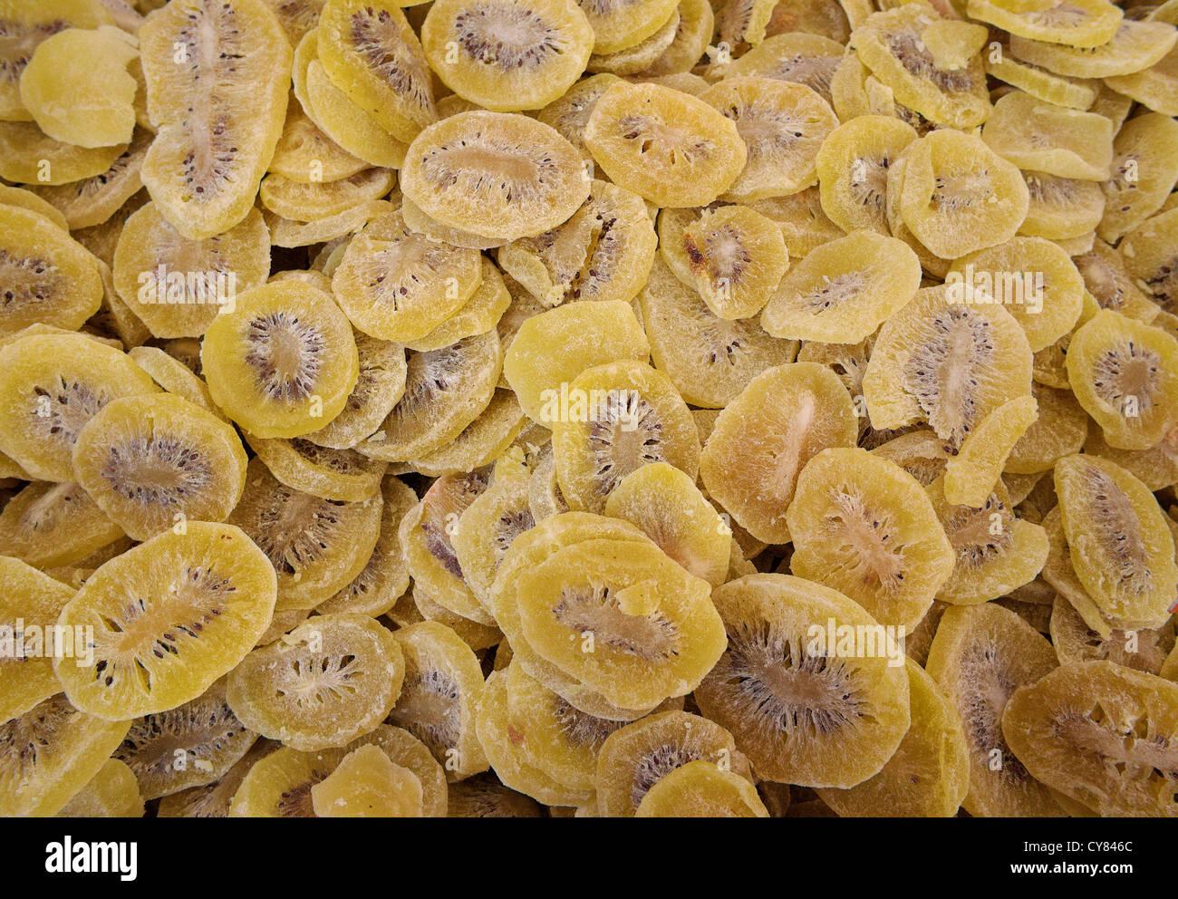 Candied kiwi slices - Stock Image