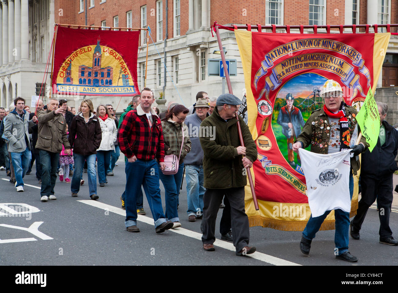 May Day Trade Unions Parade at Chesterfield Town Hall, Chesterfield, Derbyshire, England, UK - Stock Image