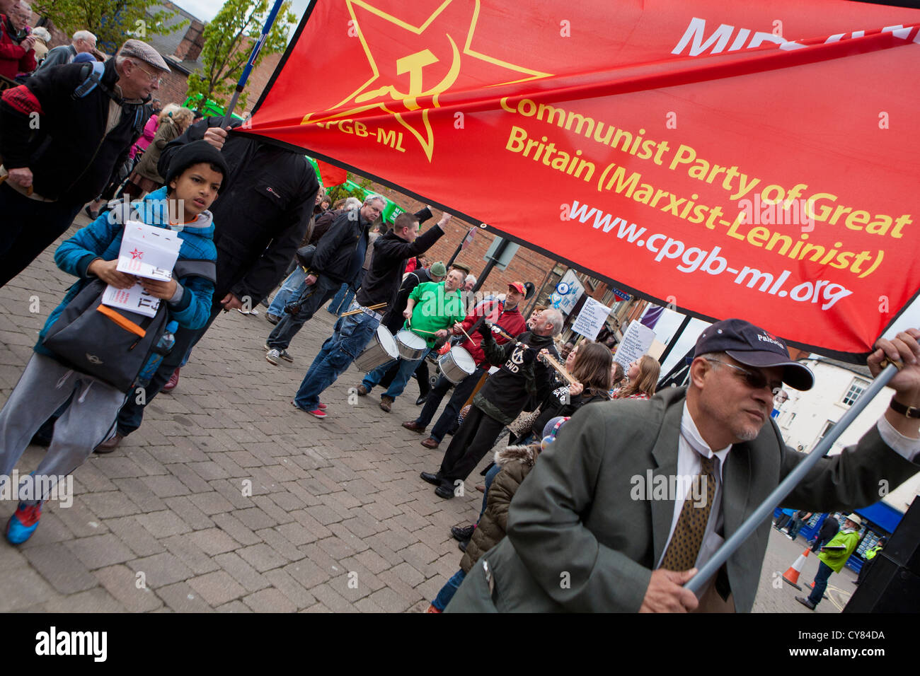 Chesterfield May Day, International Workers Day celebrations, Chesterfield, Derbyshire, England, UK - Stock Image