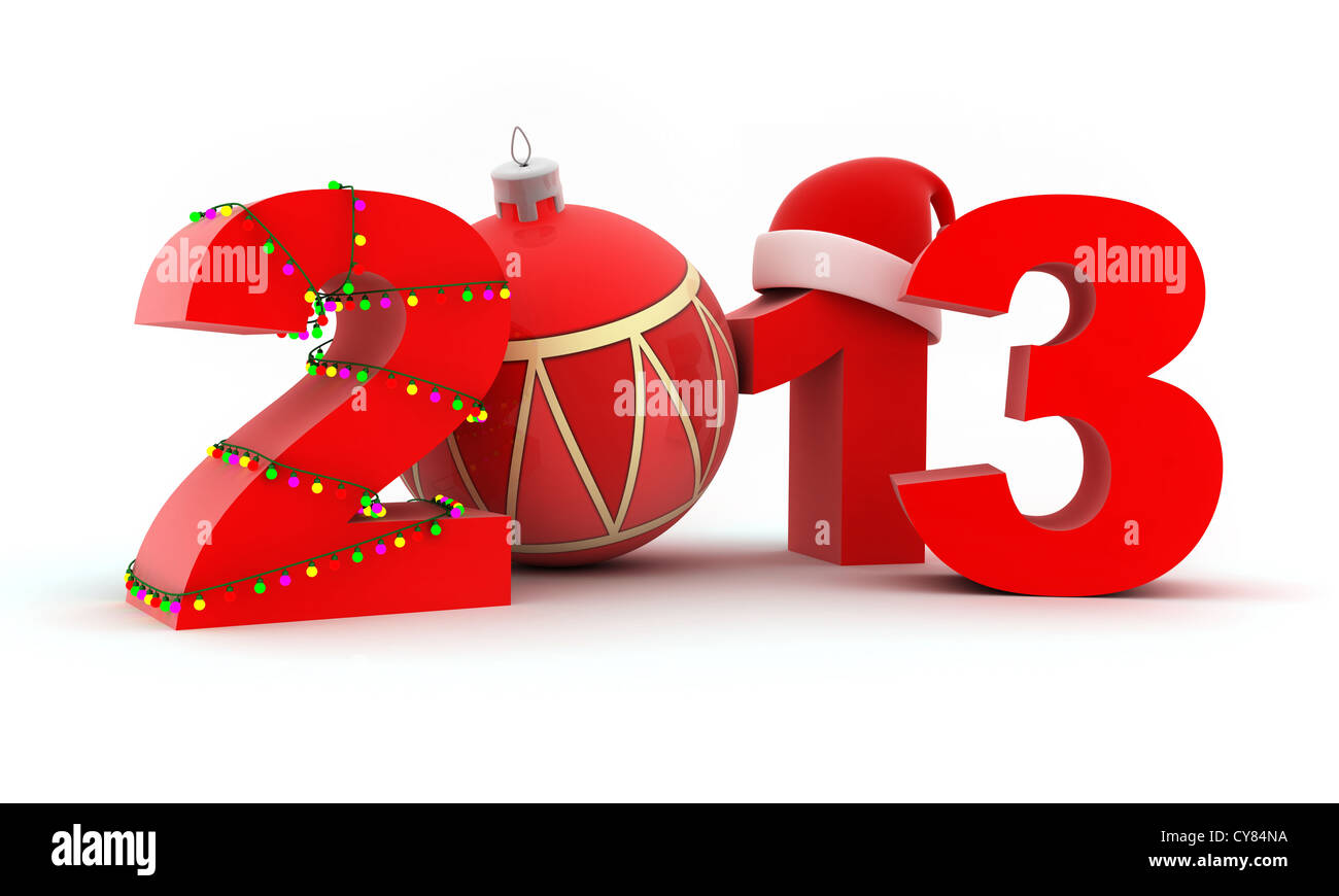 Abstract new year (done in 3d, white background) - Stock Image