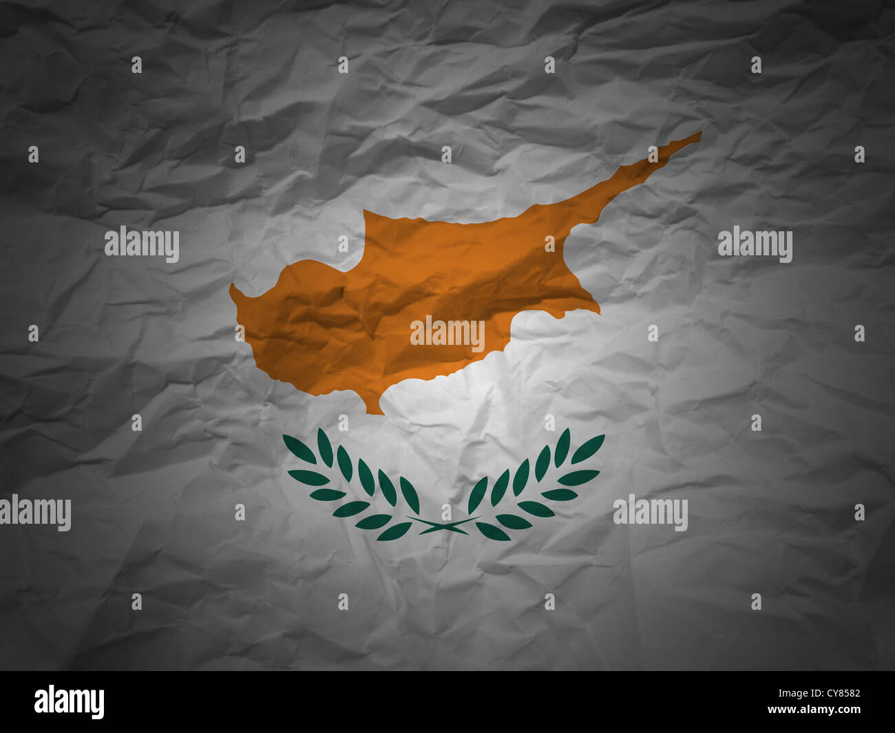 Cyprus flag on a grunge paper background. - Stock Image