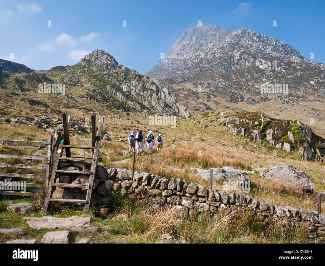 Hill walkers enroute for the mountain of Tryfan pass below the smaller peak of Tryfan Bach. Snowdonia National Park, - Stock Image