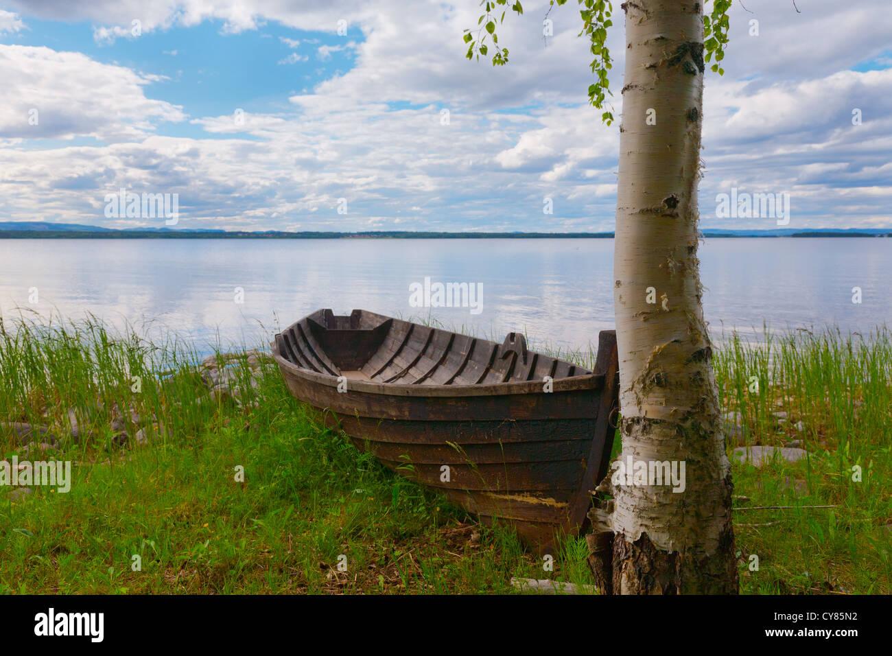 Old-fashioned row boat at lake Siljan, Dalarna, Sweden Stock Photo