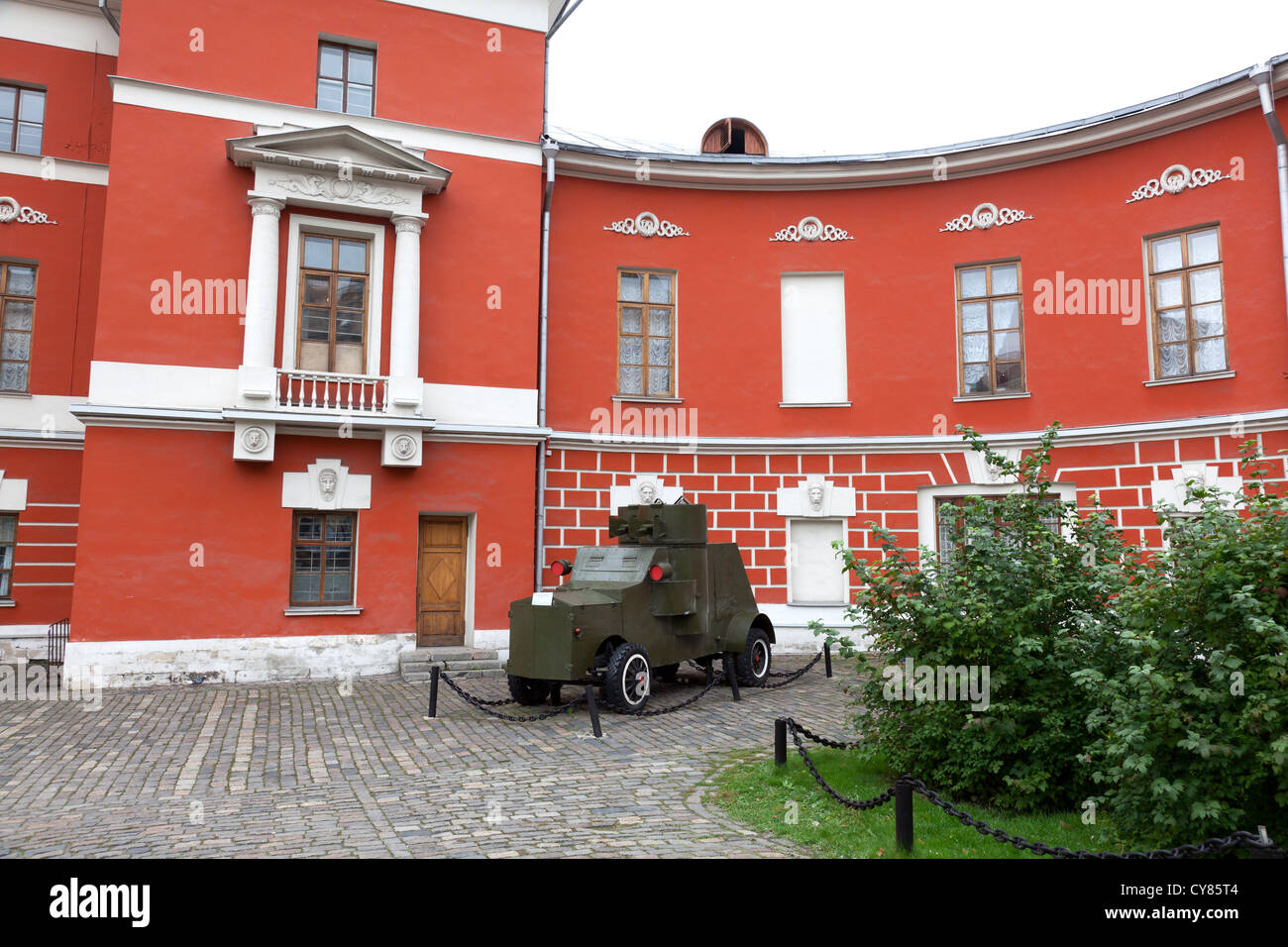 Armoured car outside the State Central Museum of Contemporary History of Russia, Moscow - Stock Image