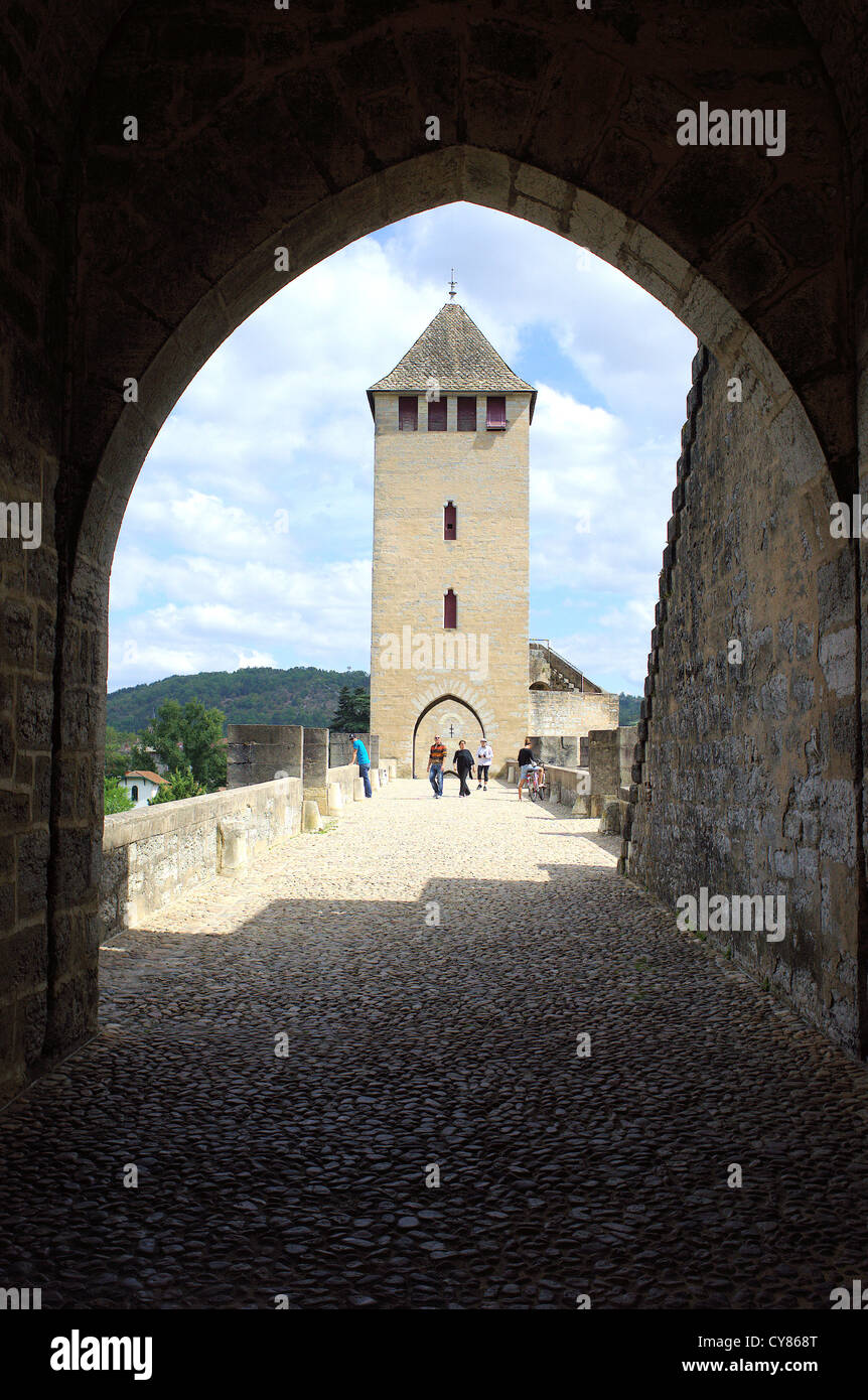 Gothic Pont Valentre on the River Lot Cahors Valentre Bridge Stock Photo