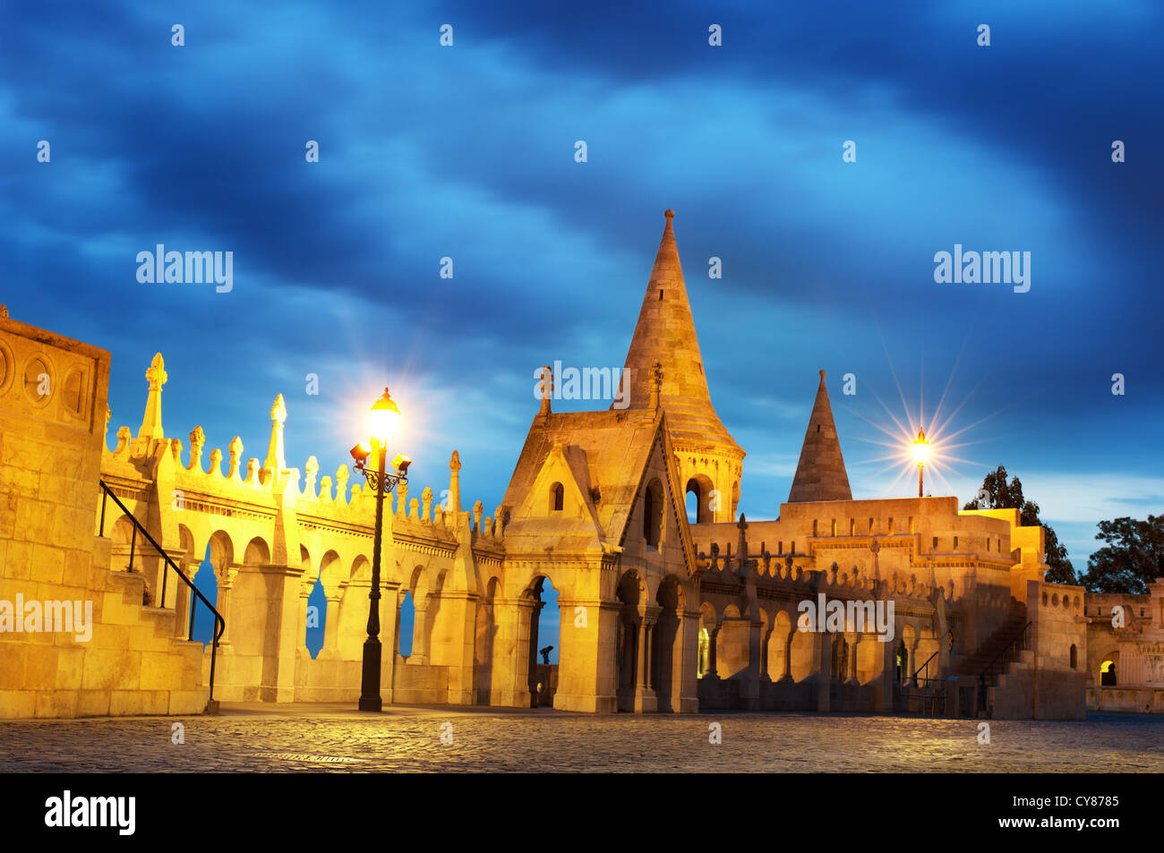 Fisherman's Bastion at night in Budapest Hungary - Stock Image