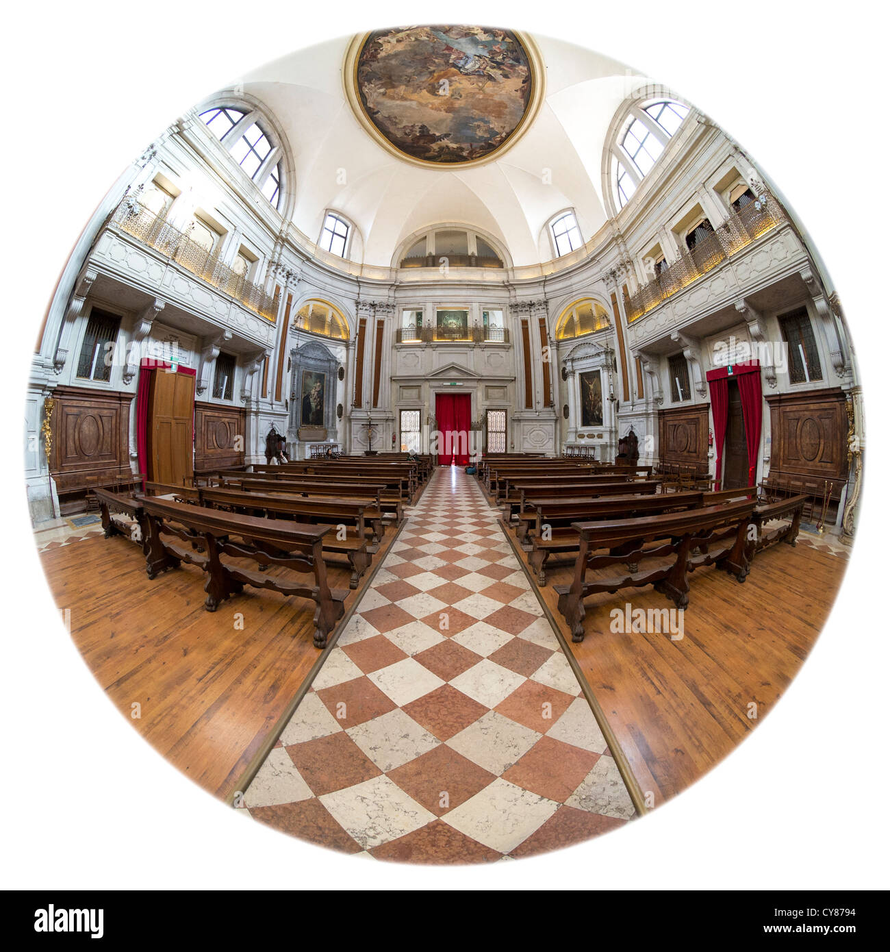 Interior of the church of Santa Maria della Pieta, in Venice, associated with Vivaldi and with frescoes by Tiepolo - Stock Image