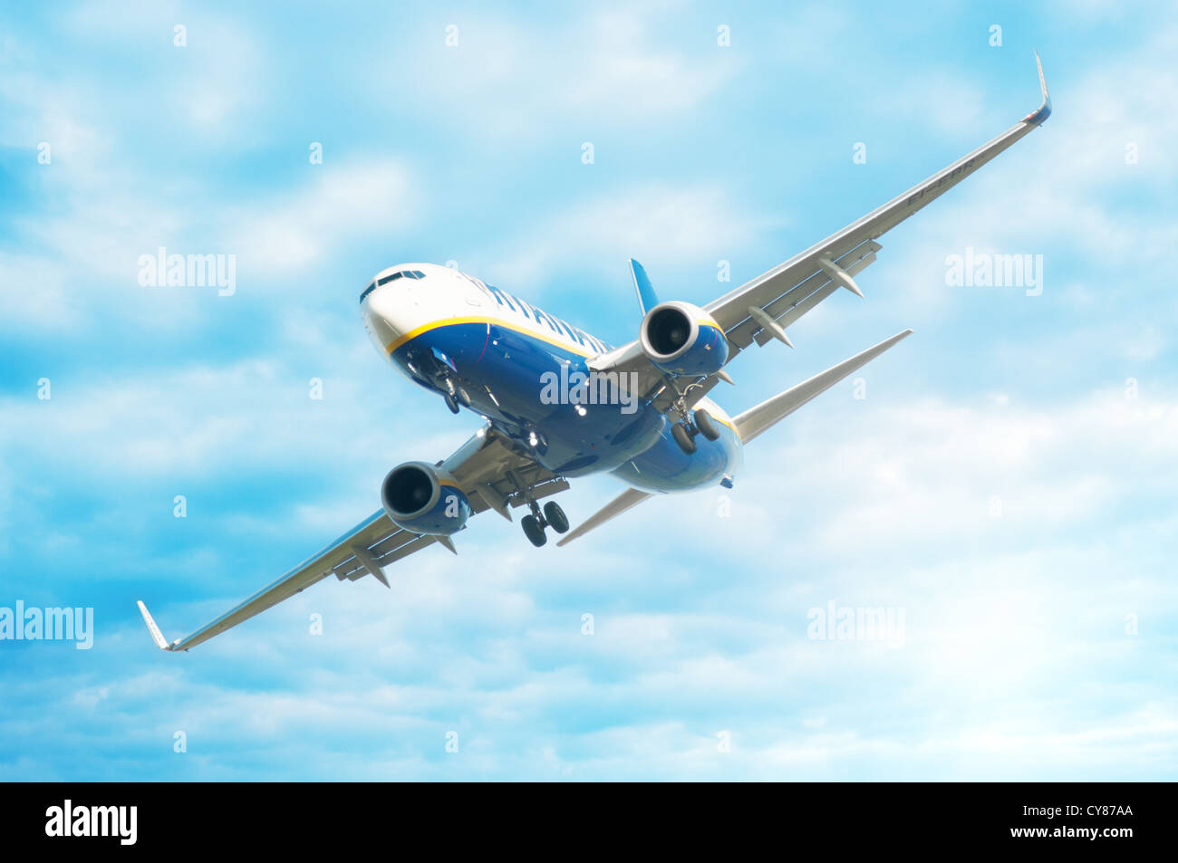 Ryanair airplane flying in the air - Stock Image