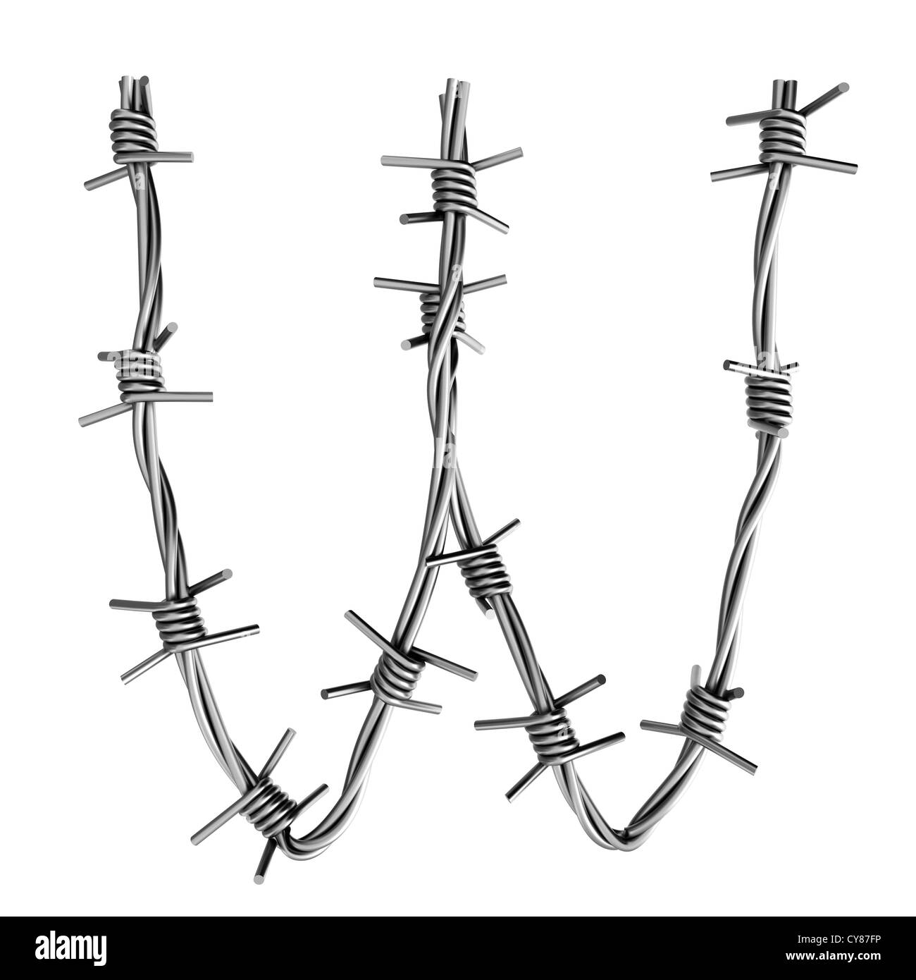 Letter W made from barbed wire Stock Photo: 51197994 - Alamy