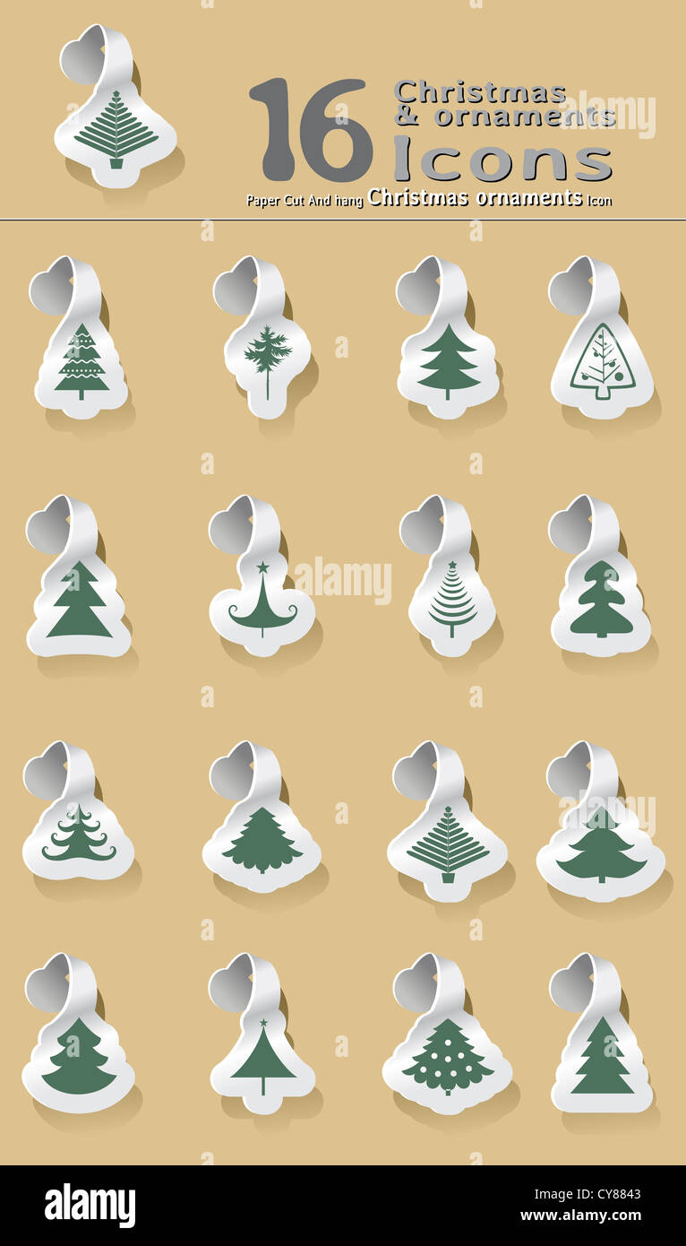 set of paper cut and hanging Christmas tree - Stock Image
