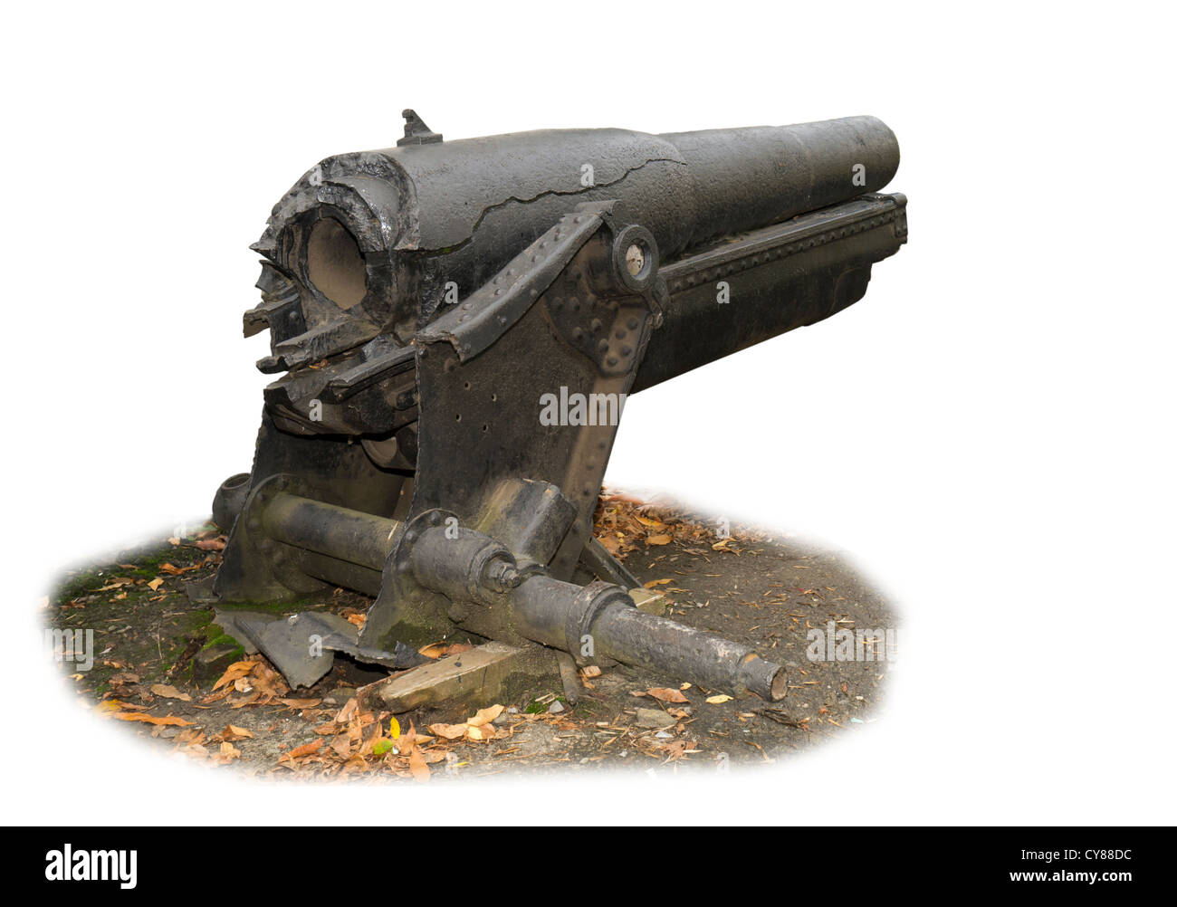 Howitzer of the sample of 1909 with the broken off trunk - Stock Image