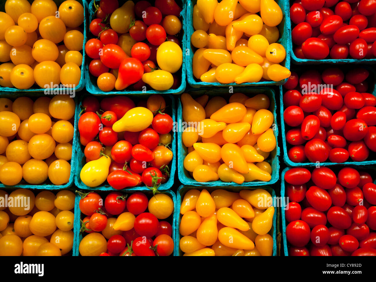 Cherry tomatoes at Pike Place Market in central Seattle, Washington - Stock Image