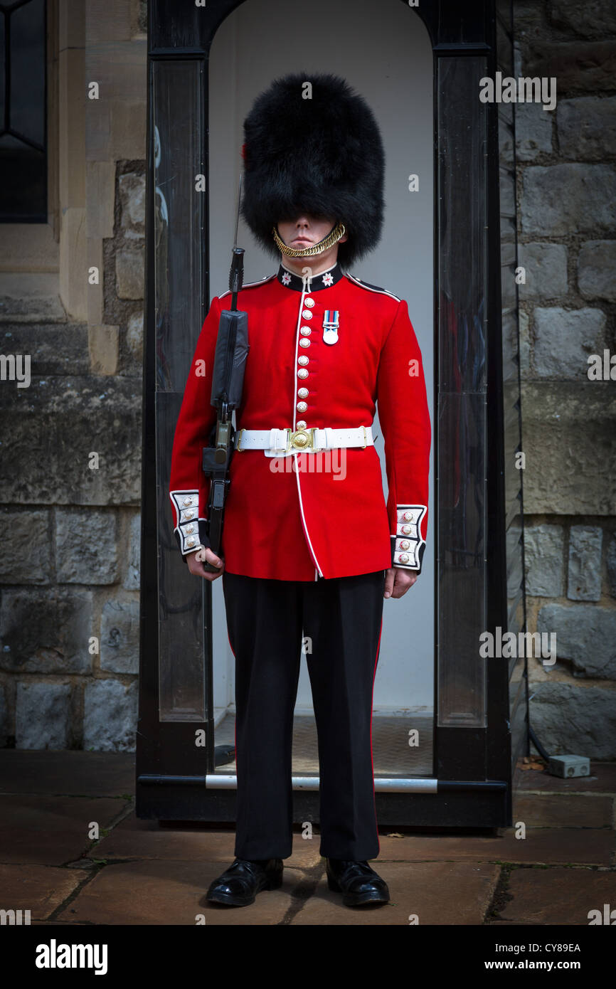 Soldier in red tunic and bearskin cap at the Tower of London - Stock Image