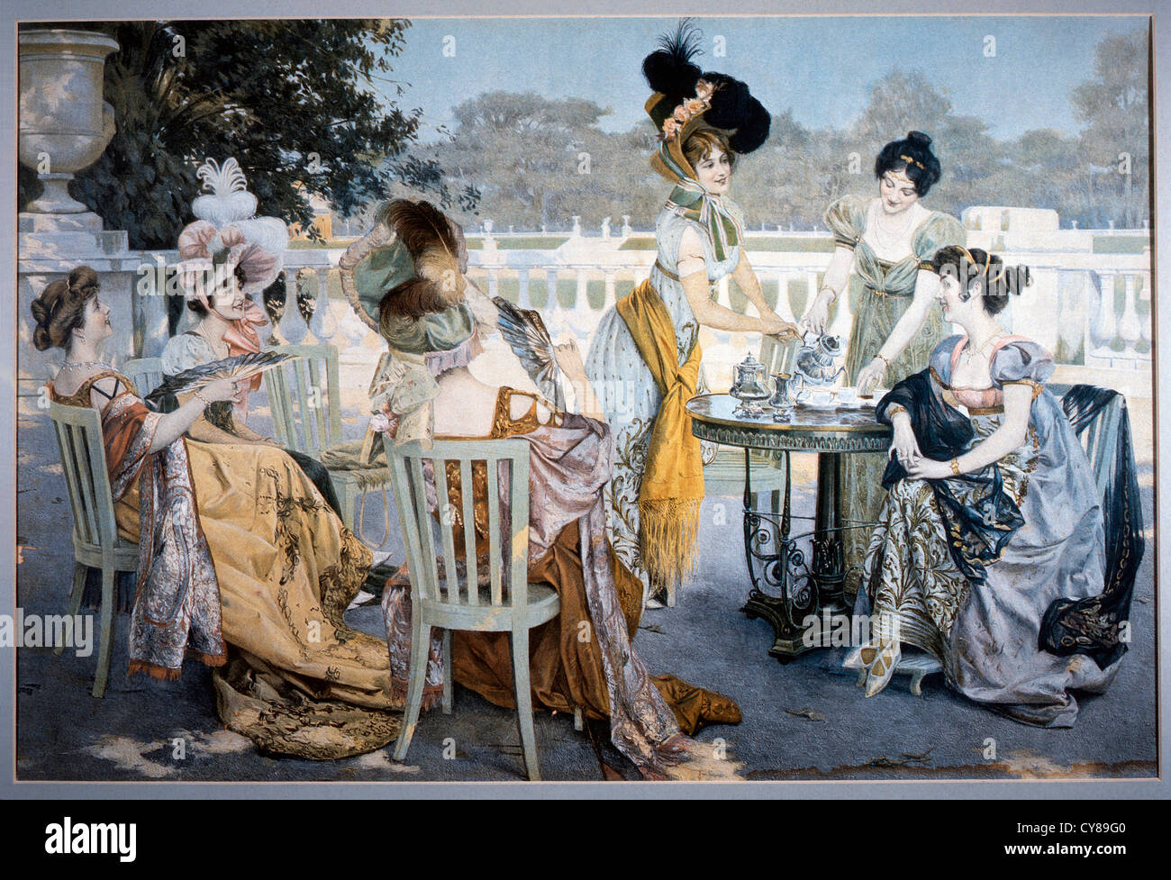Group Of Women In Victorian Era Dresses At Outdoor Tea Party Painting Circa