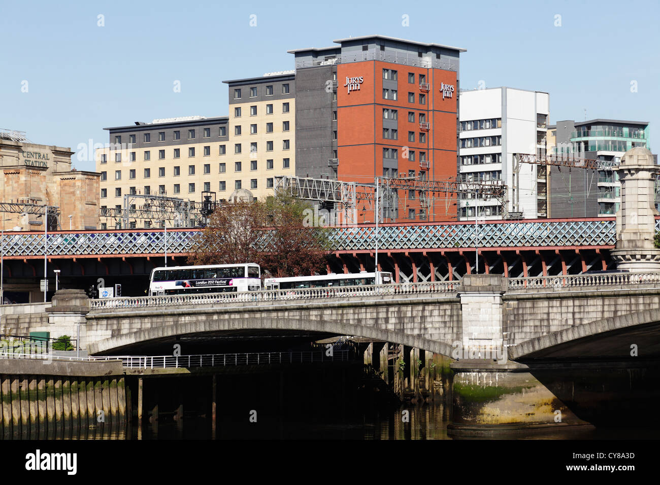 Looking East to George V Bridge over the River Clyde & Central Station railway bridge behind, Commerce Street, - Stock Image