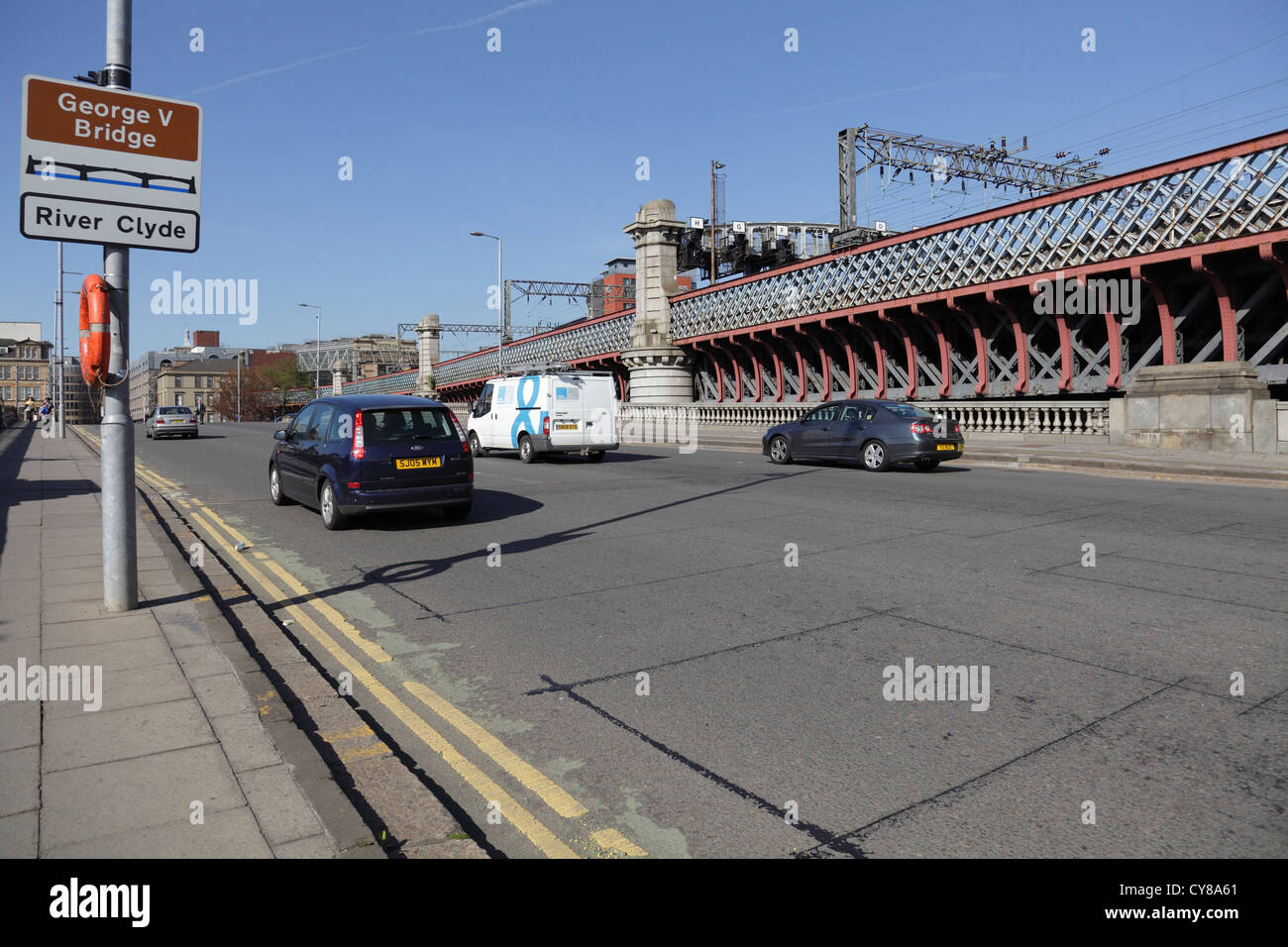 George V Bridge over the River Clyde with Central Station railway bridge behind, Glasgow, Scotland UK - Stock Image