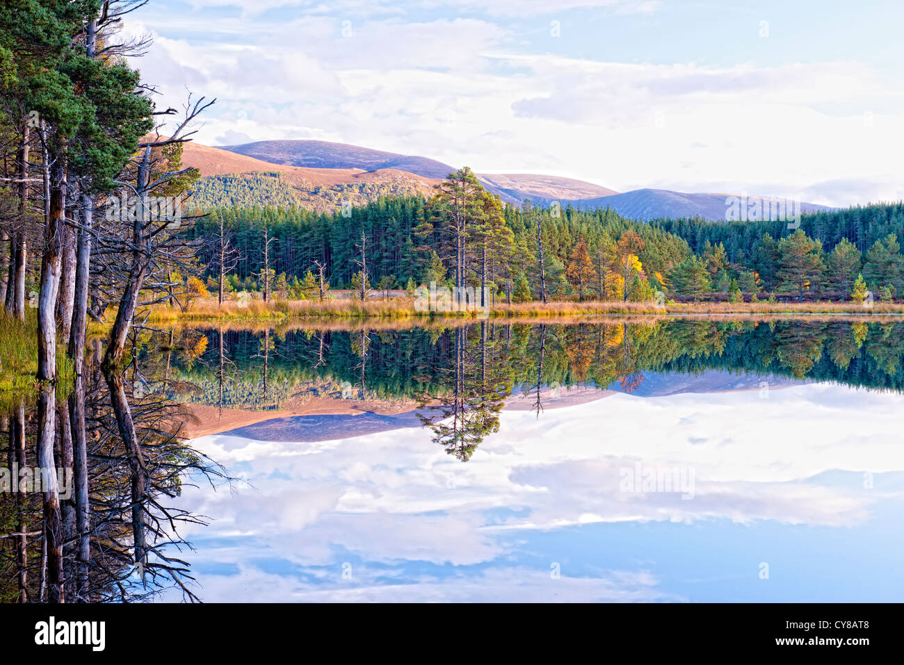 Uath lochens a small group of lochs in the carmgorm national park scotland - Stock Image