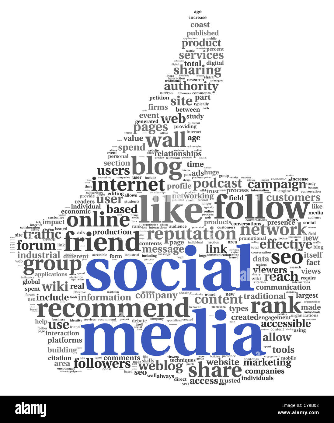 Social Media Conept In Thumb Up Symbol On White Background Stock