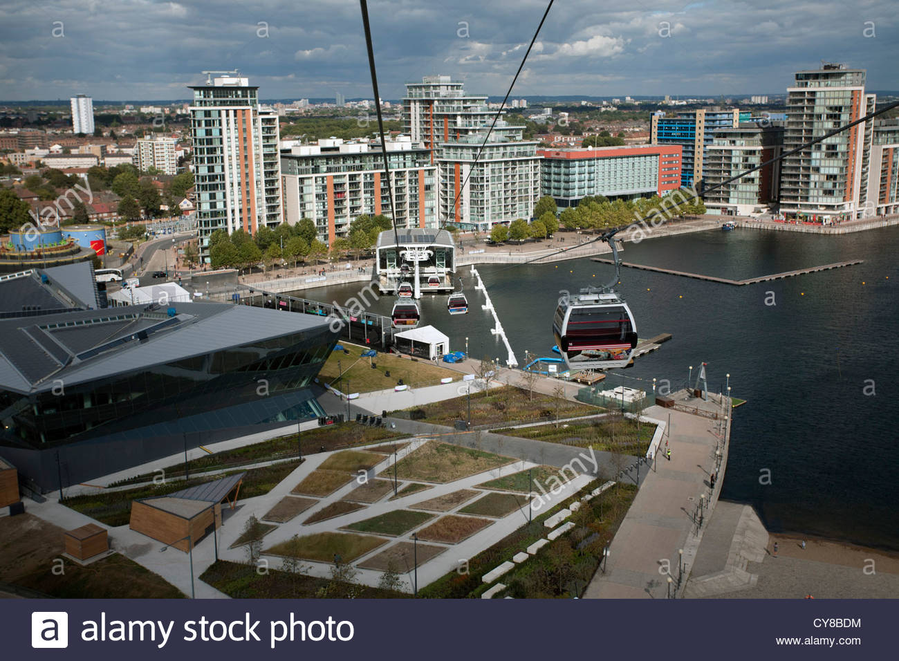 Looking towards the Royal Victoria Dock and the Emirates Air Line station, London - Stock Image