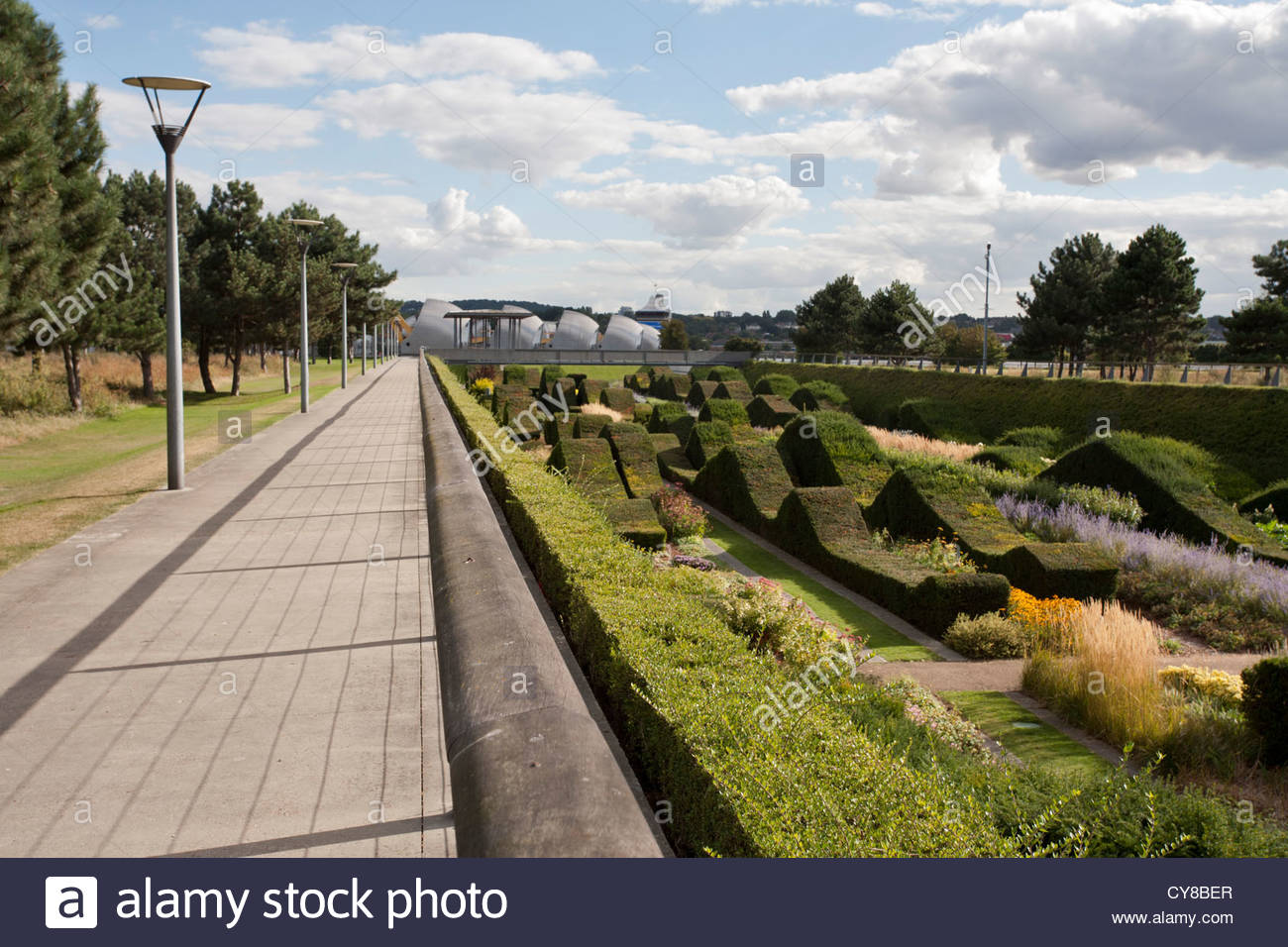 The Thames Flood Barrier seen from Thames Barrier Park, Silvertown, London - Stock Image