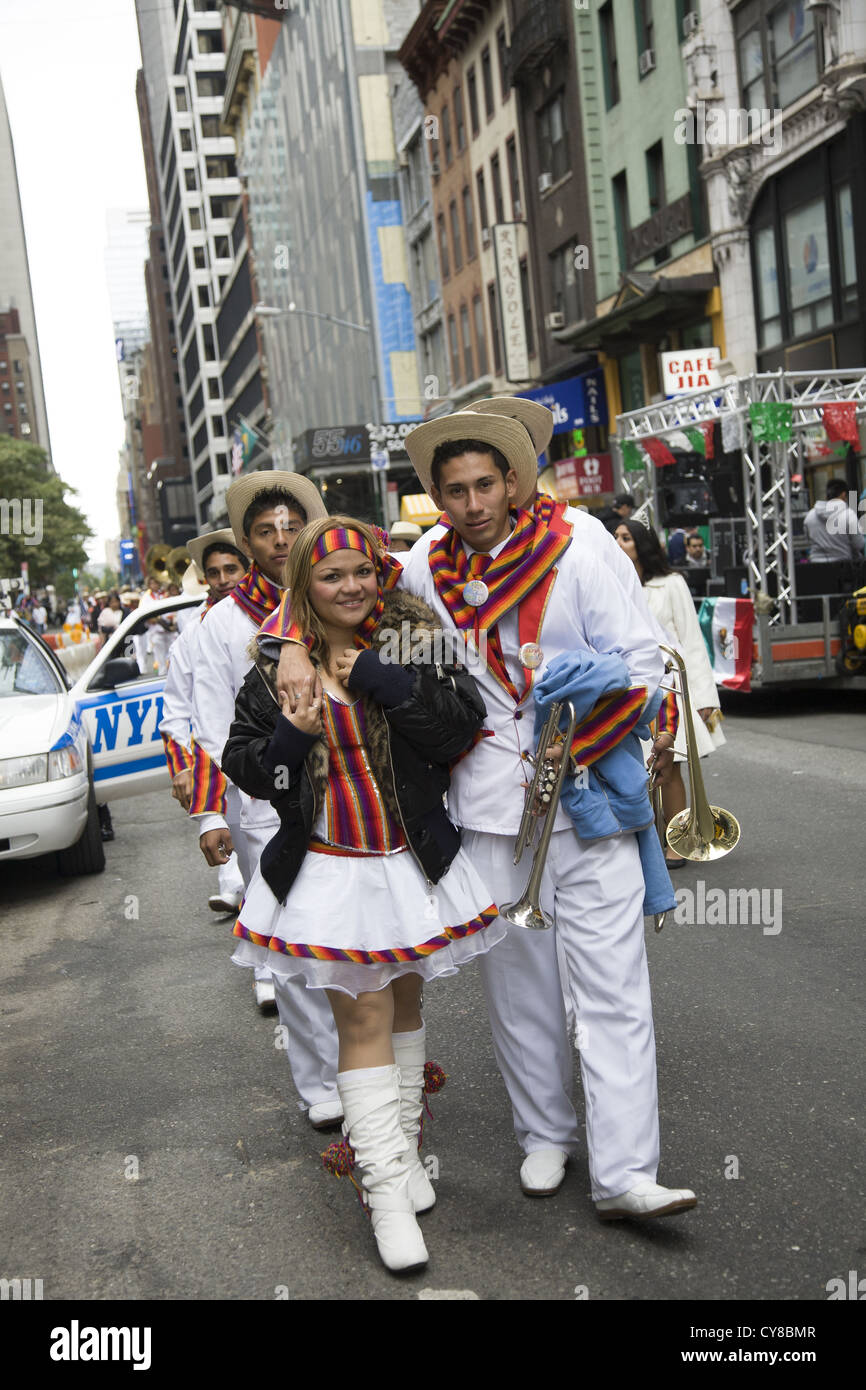 Hispanic Day Parade, New York City. Parade performers representing Guatemala - Stock Image
