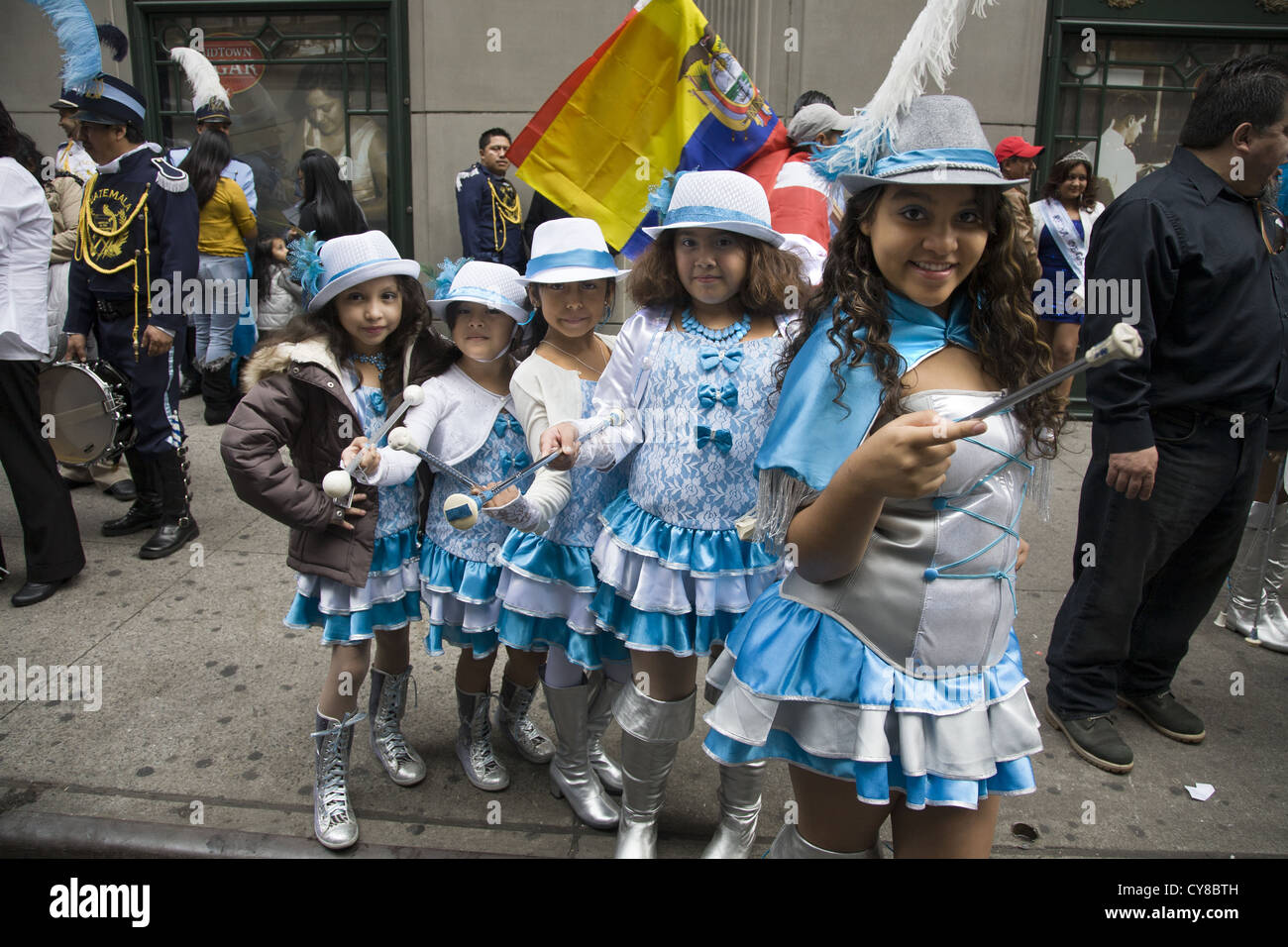 Hispanic Day Parade, New York City. Young female Guatemalan dance group. - Stock Image