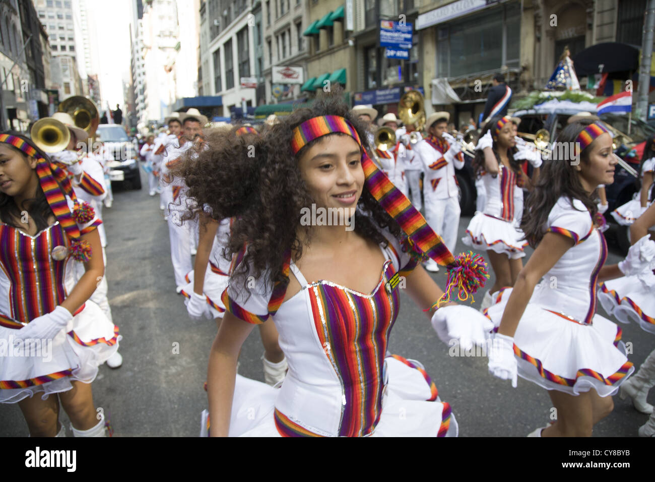 Hispanic Day Parade, New York City. Guatemala was well represented with dancers and musicians at the parade. - Stock Image