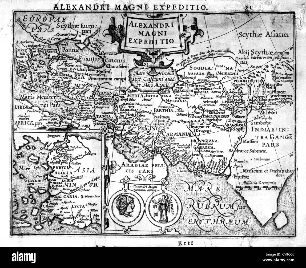 Map of the Empire of Alexander the Great, King of Macedonia, 17th Century - Stock Image
