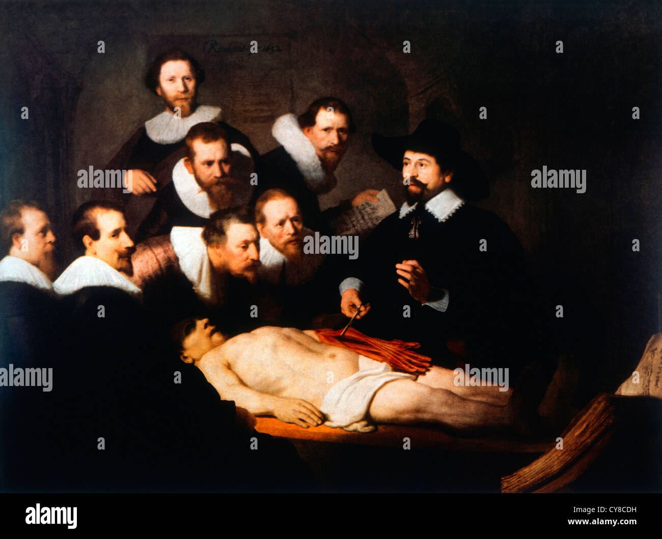 The Anatomy Lesson of Dr. Tulp, Painting by Rembrandt, 1632 - Stock Image