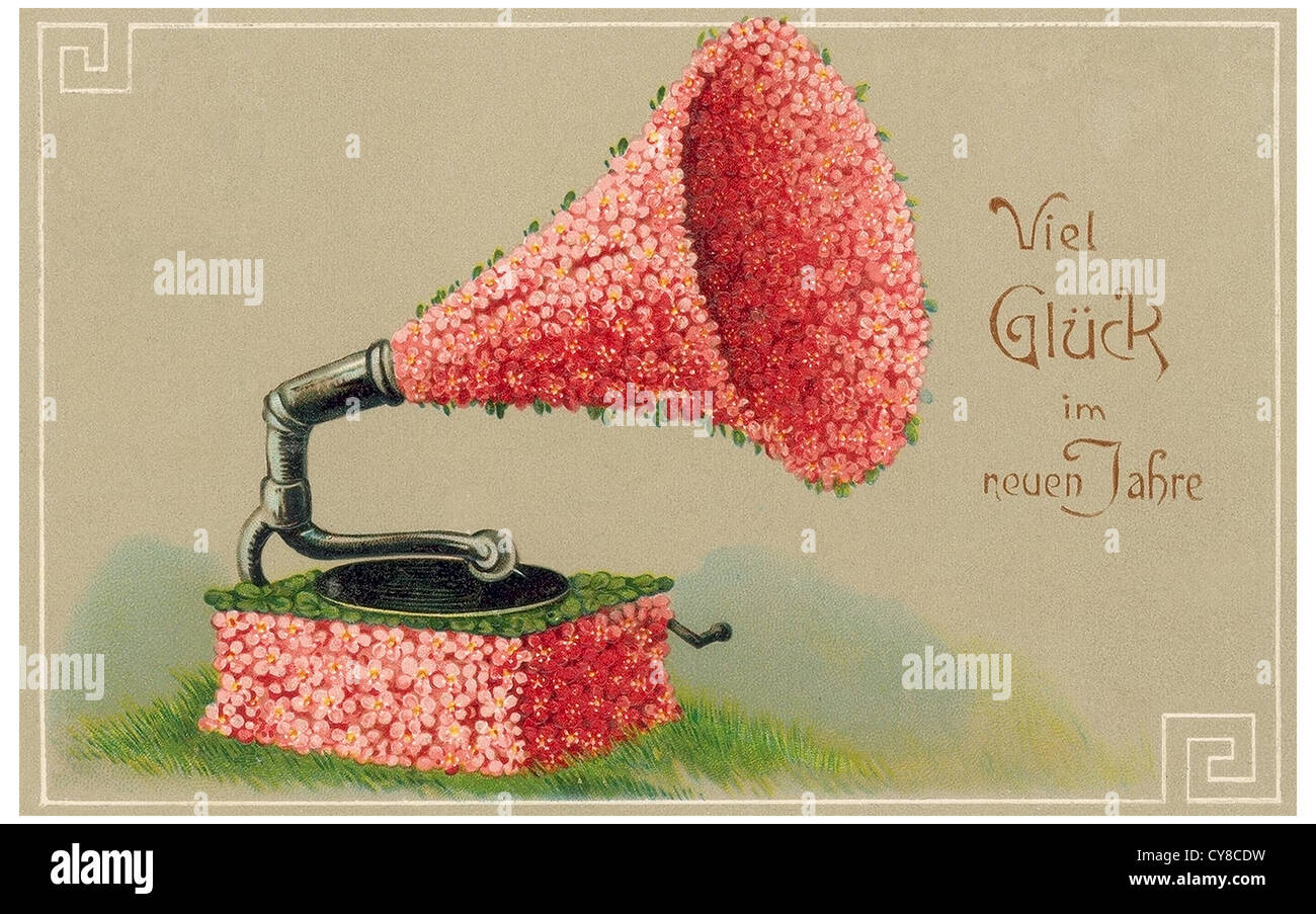 Gramophone made of flowers - Stock Image