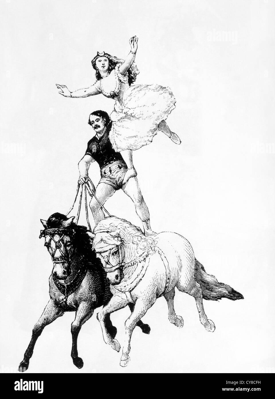 Man and Woman Bareback Horse Riding, Woodcut, 19th Century - Stock Image