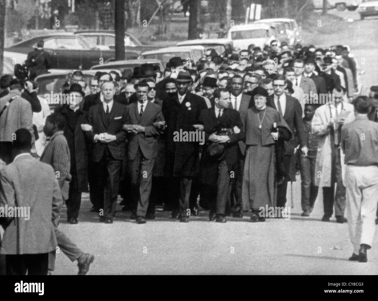 Civil Rights Demonstrators Marching, Selma, Alabama, March 15, 1965 - Stock Image