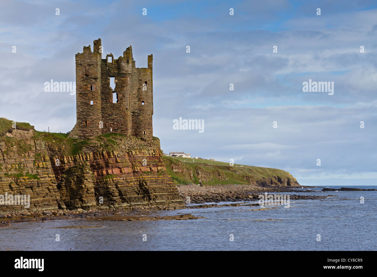 Keiss Castle on Caithness coast - Stock Image