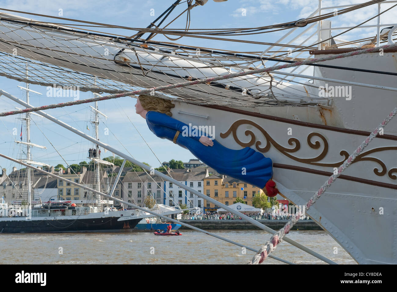 Figurehead on bow of tall ship - Stock Image
