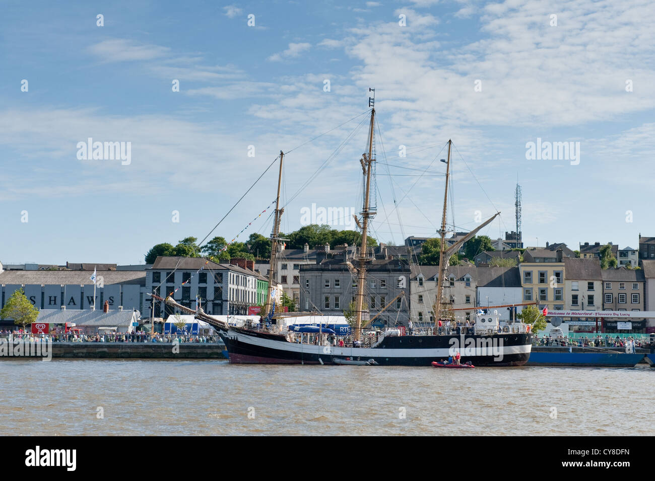 Tall ships moored along quayside, Waterford, Ireland - Stock Image