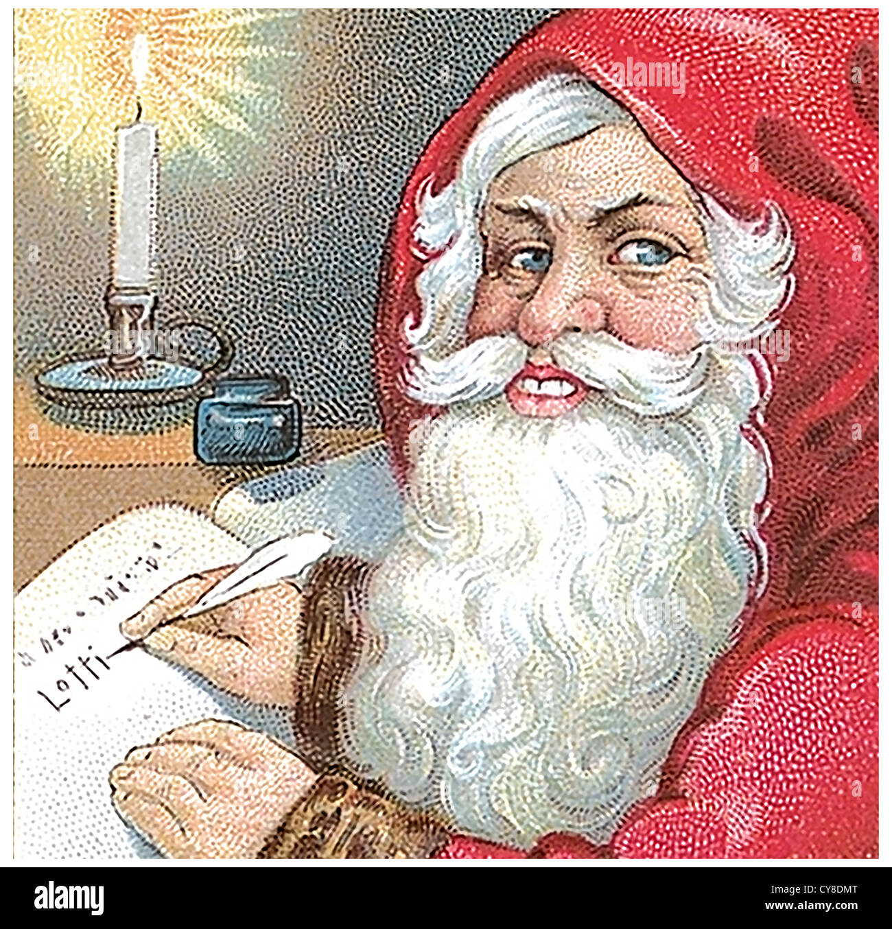 Santa Claus Christmas wishes listed - Stock Image