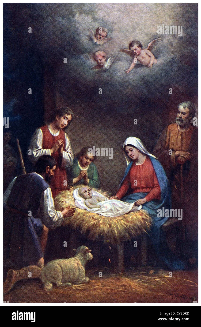 Jesus Birth In The Stable At Bethlehem Stock Photo