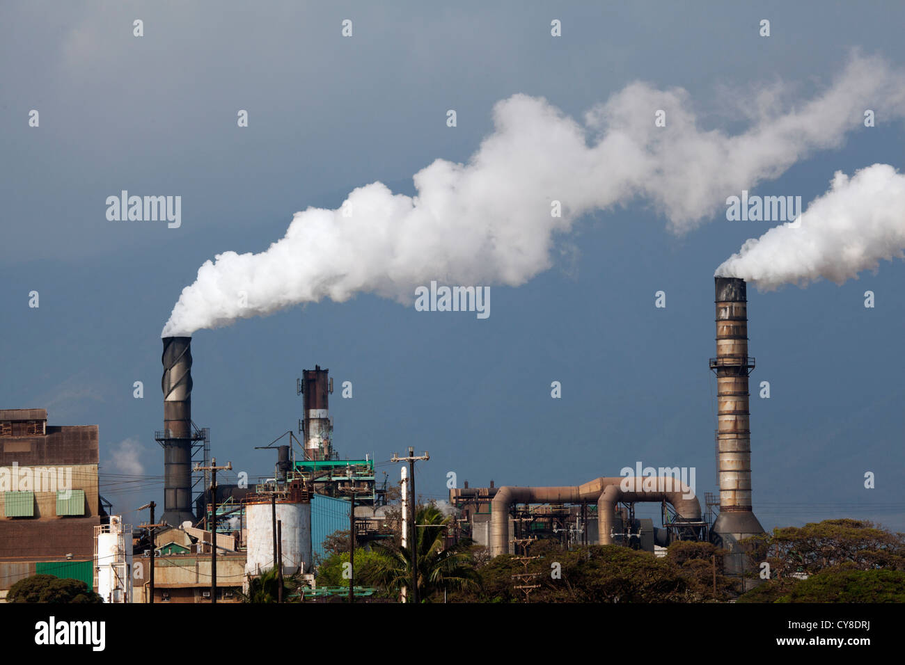 Electricity production at a sugar cane mill, Maui, Hawaii. - Stock Image