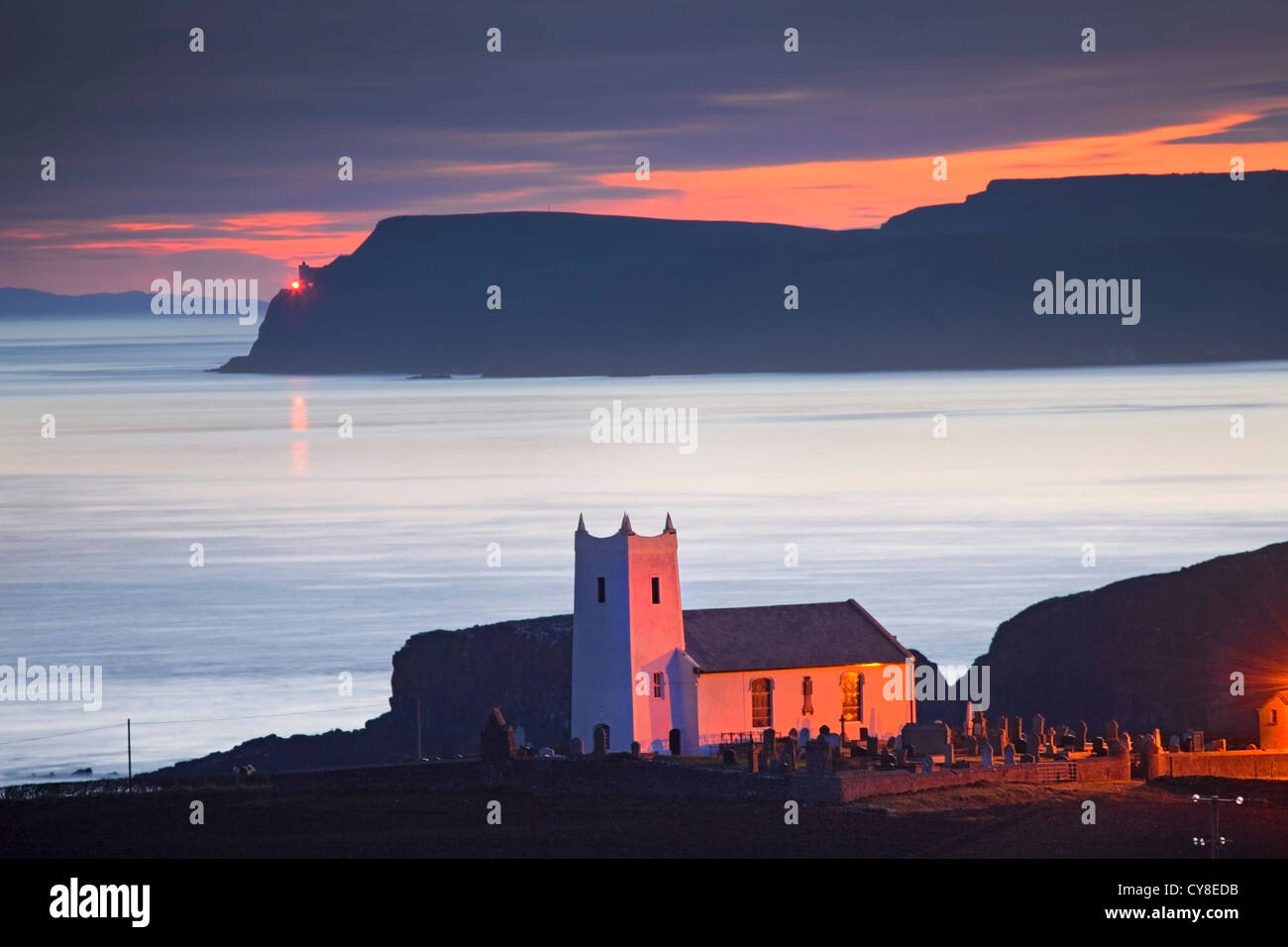 Ballintoy Church captured at Dawn. Co Antrim, Northern Ireland. - Stock Image