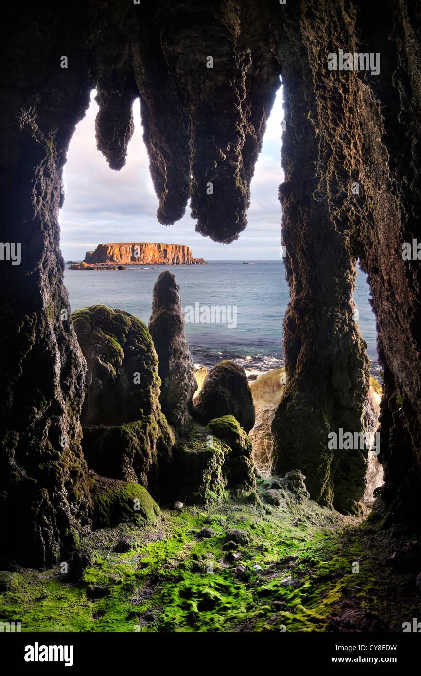 Larrybane Stalactite Cave, Antrim coast. Northern Ireland. - Stock Image